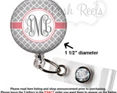 Retractable Badge Holder - Monogram Gray and Coral Quatrefoil Badge Holder, Stethoscope ID Tag, Carabiner or Lanyard - 1193