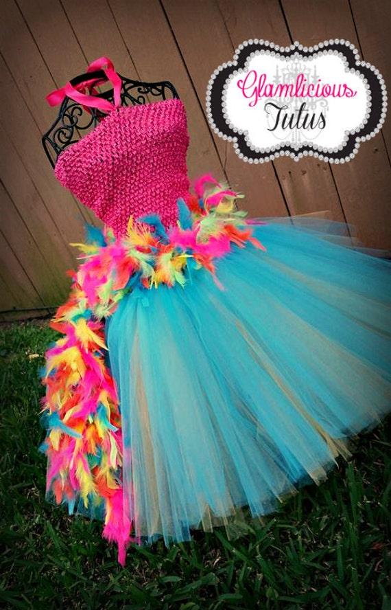 papagei tutu kleid feder tutu dress flamingo kost m. Black Bedroom Furniture Sets. Home Design Ideas