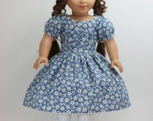 Blue Floral Print 1850s American Girl style 18inch Doll Dress