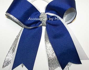 Bulk Price, Blue Cheer Bow, Royal Blue White Silver Cheerleader Bow, Softball Ponytail Bows, Volleyball Bow, Soccer Bow, Gymnastic Team Bows