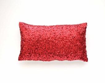 "Sequins Lumbar Pillow Cover - Red Taffeta Sequins - 12"" x 20"" - Throw Pillow, Decorative Pillow, Valentine Pillow"