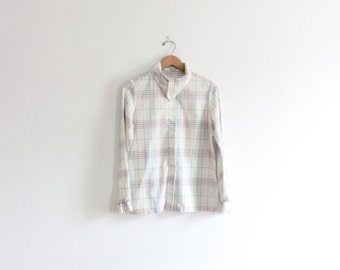 Color Grid 70s Handkerchief Collar Shirt