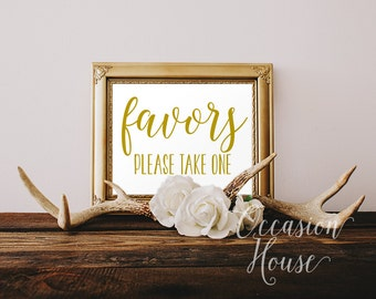 Printable Favors, Please Take One, 5x7, Wedding Favor sign, Gold Wedding Sign, wedding favors sign, Reception sign, Instant Download, FP02