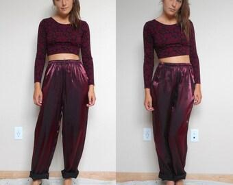 Vintage Shiny Genie Burgundy Pants Elastic Waist (Size Medium)