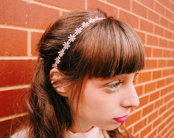Polyester Pink Sunflower Headband, Victorian Elegant Style Hair Accessories,eddings, Festival Headband, Flower Hair Accessory