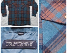 Vintage Men's Van Heusen Winterweights Flannel Teal Brown Blue Plaid Buttonup Long Sleeve Shirt Medium