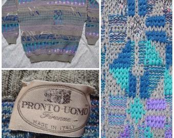Vintage Retro Men's Pronto Uomo Grey Teal Purple Geometric Made in Italy Knit Sweater Cotton XL