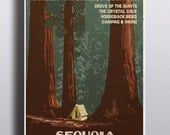 Sequoia National Park Vintage Poster Sequoia Tree Camping Art Print Illustration Nature Print Vintage Poster Wall Decor Wall Art Adventure