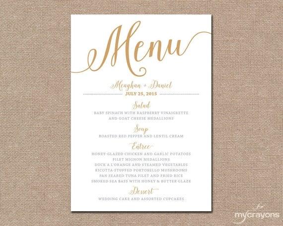 Superb image throughout printable wedding menus