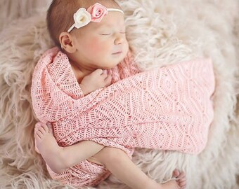 Set: Headband and Aztec Peach Lace knit Wrap or layering fabric, newborn photography prop 18 x 50
