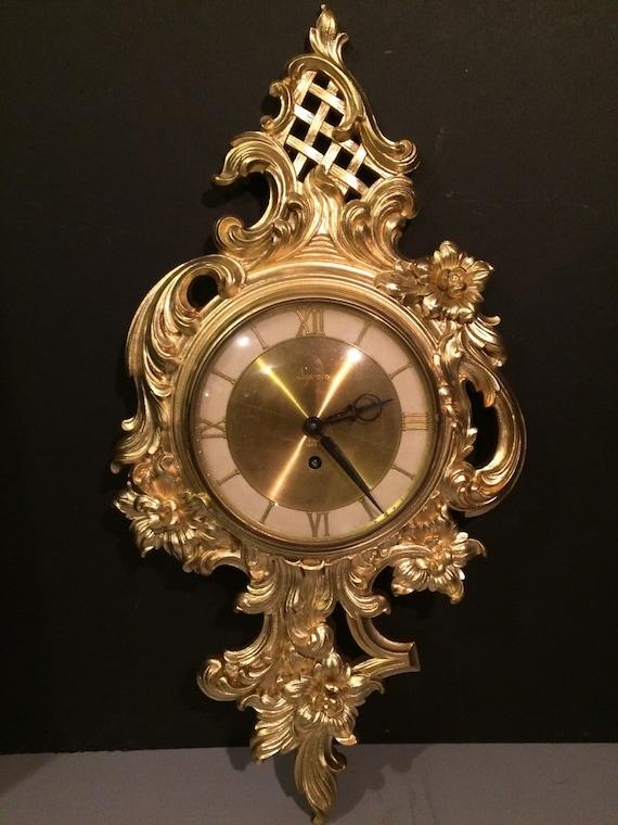 Ornate Syroco Wood Wall Clock 8 Day Jeweled 1940s