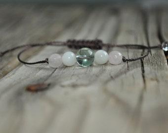 Fluorite Yoga Bracelet,  Moonstone Meditation Bracelet, Rose Quartz, Mediation, Crystal Healing Bracelet, Stack Bracelet, Fertility Bracelet