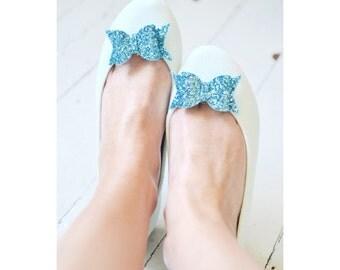 Aqua Blue Glitter Bow Shoe Slips, Turquoise Glitter Bow Shoe Clips, Blue Glitter Wedding Shoeclips, Something Blue, Blue Flowergirl Shoes