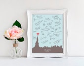 PRINTABLE.  Custom wedding city skyline signature guest book. Custom colors and size. Up to A1 size (33.1 x 23.4 inches) or similar size.