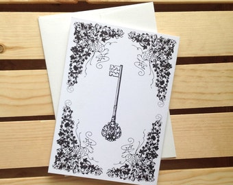 Key Greeting Card, 5x7 Blank Card, Skeleton Key Stationery