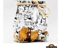 """100 - Pups Print Clear Small-size Gusset Bags with Twist Ties -  3.5"""" x 7.5"""" -  Dog Bones, Treats, Favors, Product Packaging BOPP"""