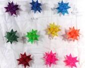 "CUSTOM ORDER 10 Rainbow Stars Set 4"" stars plus one white"