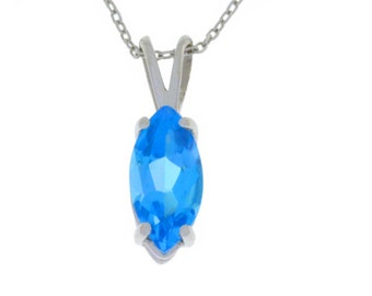 1 Ct Blue Topaz Marquise Pendant .925 Sterling Silver Rhodium Finish