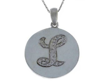 Letter L Pendant .925 Sterling Silver Rhodium Finish