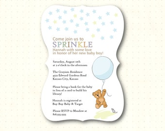 Baby Shower Die-Cut Sprinkle Invitations, boy, girl, gender neutral, pink, blue, green, gender reveal, sip and see, printed, B21651