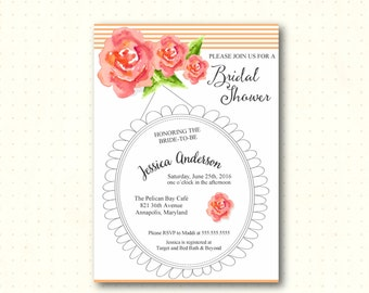 Bridal Shower Invitation, bridal tea, brunch, bridal lunch, flowers, roses, peach, stripes, simple, modern, digital printable invite BW22852