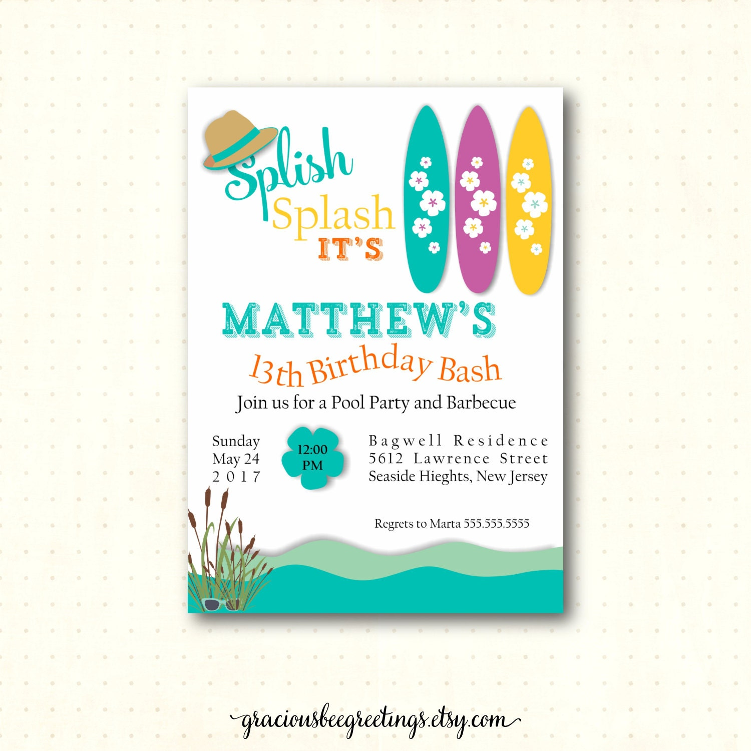 Teen Pool Birthday Party Invitation th th th th