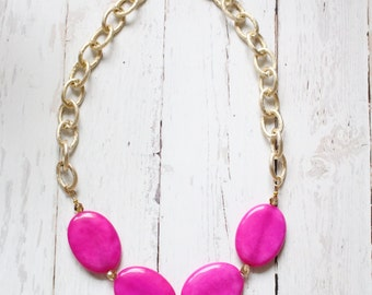 The Cora - Hot Pink Candy Jade -  Statement Necklace