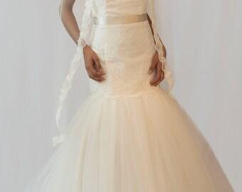 Couture bridal veil, lace edge veil, Tallulah