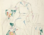 Rare 1930s Watercolor Painting Pencil Sketch Blanche Wilber 18 3/4 x 25 inches