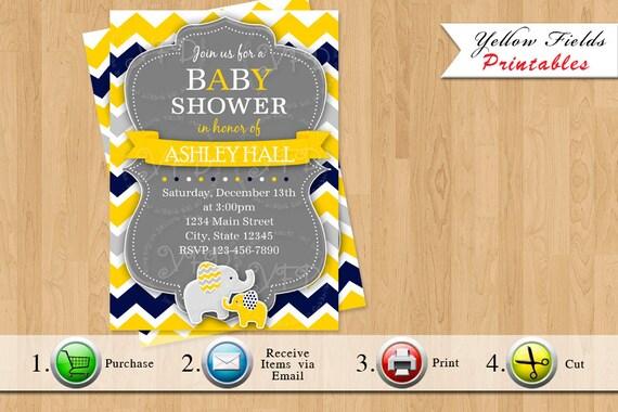 Items Similar To Elephant Baby Shower Invitation Chevron