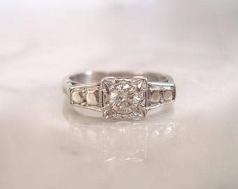 Diamond Solitaire Ring- Art Deco 18K White Gold & Platinum .25cts Diamond Engagement, Anniversary or Wedding Ring - Size 5 1/2