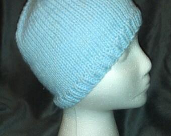 Hand Knit Powder Blue Beanie