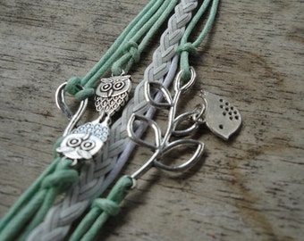 Infinity, Owls and Stem Green and White Wrap Bracelet