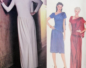 70s Classy EDITH HEAD Dress or Gown Pattern Vogue American Designer Original 2646 Disco Regular or Maxi Length Vintage Sewing Pattern B 34