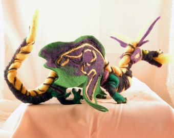 Made to order green purple wool felted dragon, adjustable, intereactive with lemon highlights.