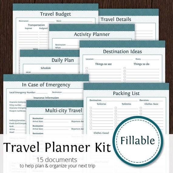 Travel Planner Kit Fillable Instant Download Printable
