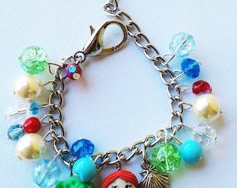 Ariel the little mermaid inspired  charm bracelet