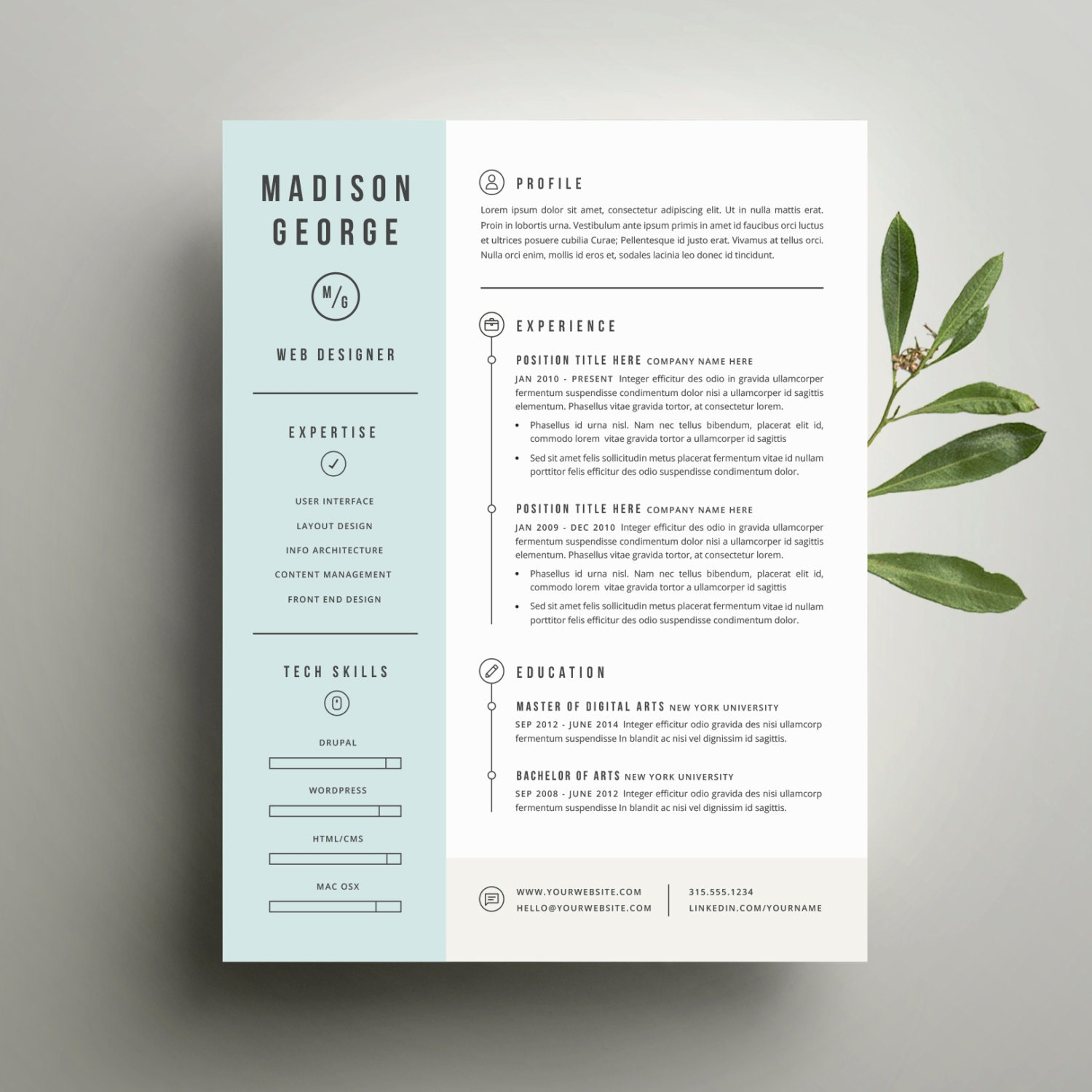 creative cv template modern resume template and cover letter template for word diy printable 3 pack professional and creative design