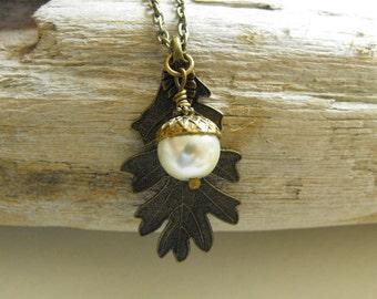Acorn Necklace, Oak Leaf Acorn Necklace, Antique Brass Acorn Jewelry, Nature Woodland Earthy Pendant Necklace, White Pearl Acorn