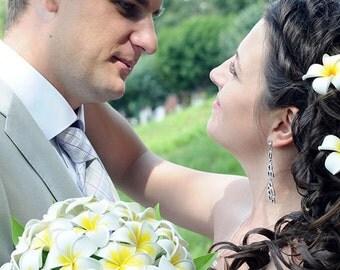 Wedding bouquet Plumeria tropical - Polymer Clay Flowers - Bridal bouquet