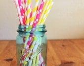 25 Pink Lemonade Paper Straws