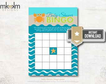 Beach Theme Baby Bingo, Nautical Bingo Game, Under The Sea Baby Shower Bingo Game, Boy Shower Game, Fish Baby Shower, INSTANT DOWNLOAD, #N2