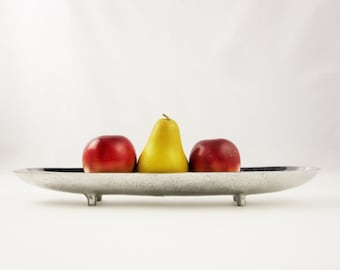 Ultra Chic Cast Aluminum Bowl - Trough - Mottled Surface - Long and Low on Four Pegged Feet -Made in India