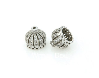 Silver Crown Tassel Cap, CZ Micro Pave Finding, Cubic Zirconia Pave on Copper Cap, 10mm, 13mm, Pkg of 1 PCS, F0MU.SI06.P01