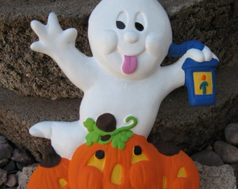 Halloween Ghost with Pumpkins Ceramic Decoration