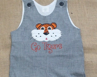 Personalized Tiger Gingham Shortall, Tiger Applique Jon Jon