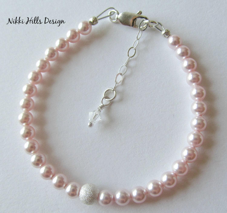 little girl pearl bracelet little girl jewelry by. Black Bedroom Furniture Sets. Home Design Ideas