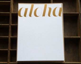 Gold Foil Stamped Aloha Note Cards - Set of 6