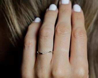 Gold Wedding Band, Thin Diamond Band, Three Stone Band, Three Diamond Ring, Dainty Stacking Ring