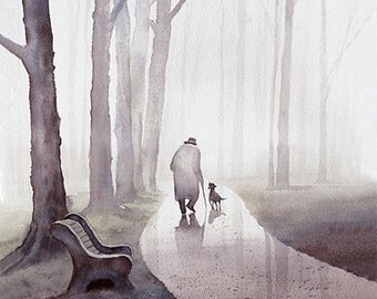 Walk In The Park Art print of watercolor painting - Old man and dog, Trees, Park, Bench